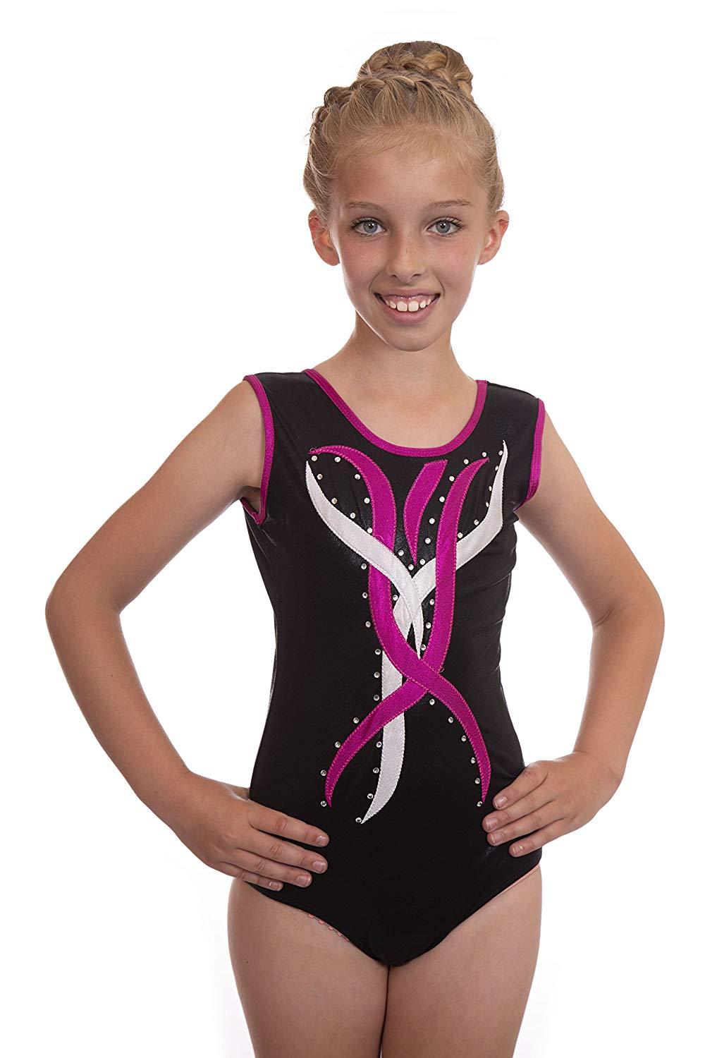 20b74a8ca427e7 Get Quotations · Vincenza Dancewear Girls Sleeveless Gymnastic Leotard  Black with Pink and Silver Flame