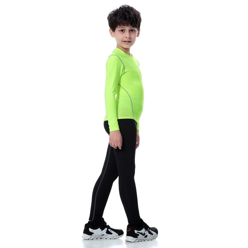 2018 Colorful Sportswear Boys' Compression Shirt Shorts Pants Sportswear Set Kids 15