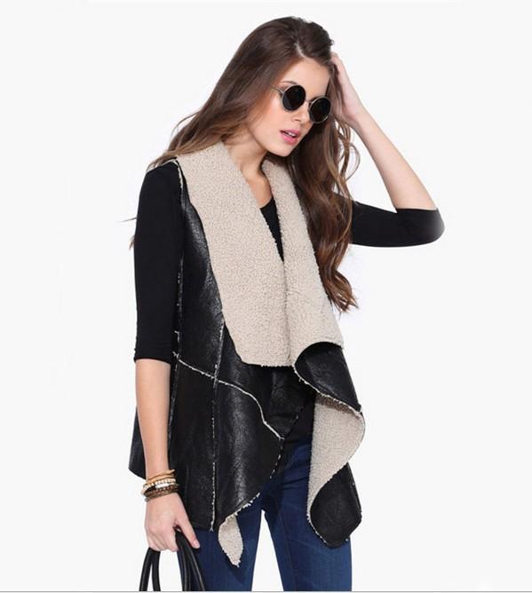 Женские жилет поддельные мех без рукавов искусственного жилет пальто v-воротник жилет куртка Feminino верхней одежды