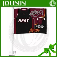 2015 hot sales car window use factory directly sales strong plastic pole durable miami heat team car flag