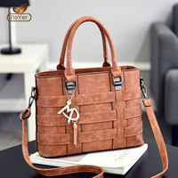 China high quality handbag for women custom trendy leather black tote handbags
