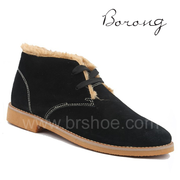 rubber sole men boot Men warm ankle for fur winter black shoes Fashion nfCqOx