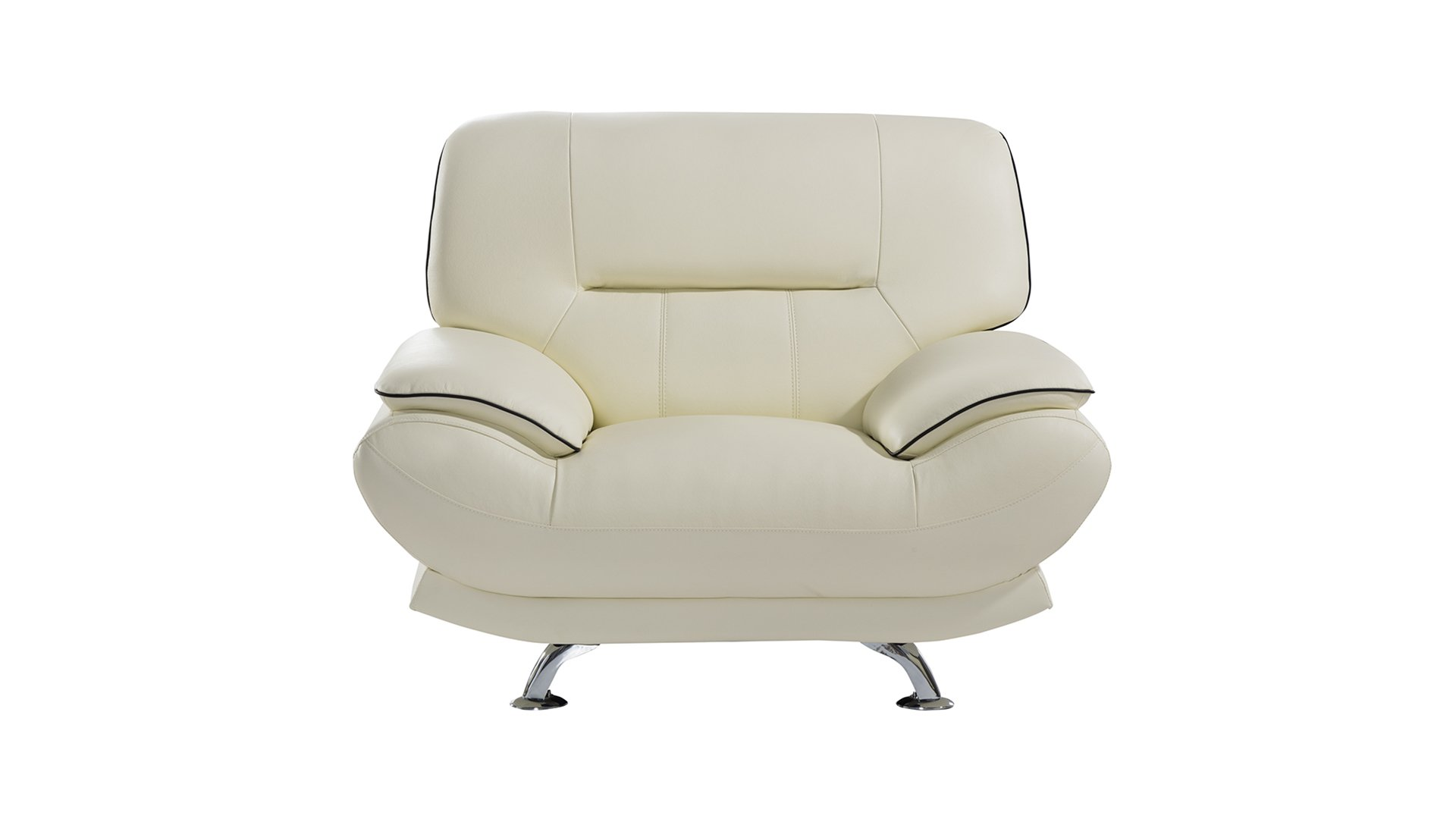 American Eagle Furniture Arcadia Collection Genuine Leather Living Room Armchair with Pillow Top Armrests, Ivory