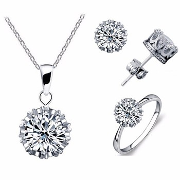 Tryme Crown Crystal Jewelry Sets Trio Set Necklace + Earring + Rings