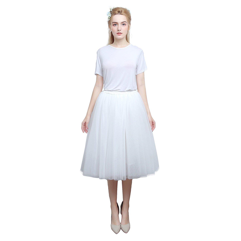 76ec8887e Get Quotations · CINRY'S MODA Women's A Line Tutu Tulle Skirt Tea Length  Prom Party Midi Skirt