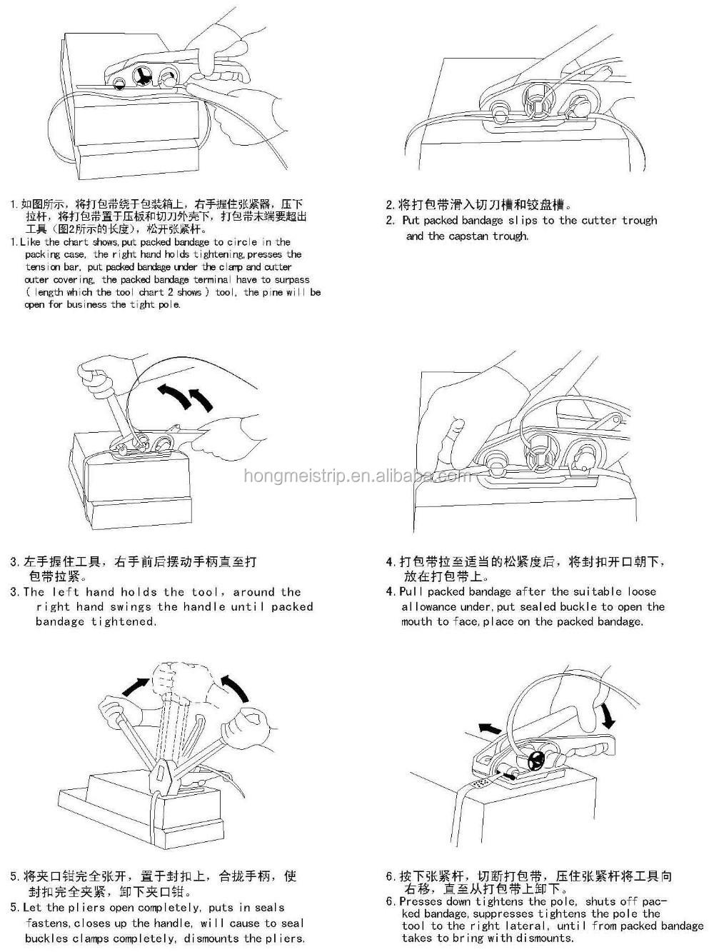 Reggiatrice manuale per PET/PP cinghie attrezzo di piegatura strumento mano, PP e PET Strapping Tenditore