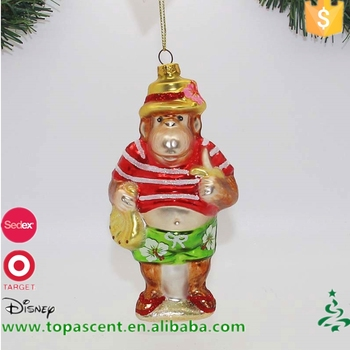 hot sell christmas crafts handblown glass monkey eating bananas on the beach ornament