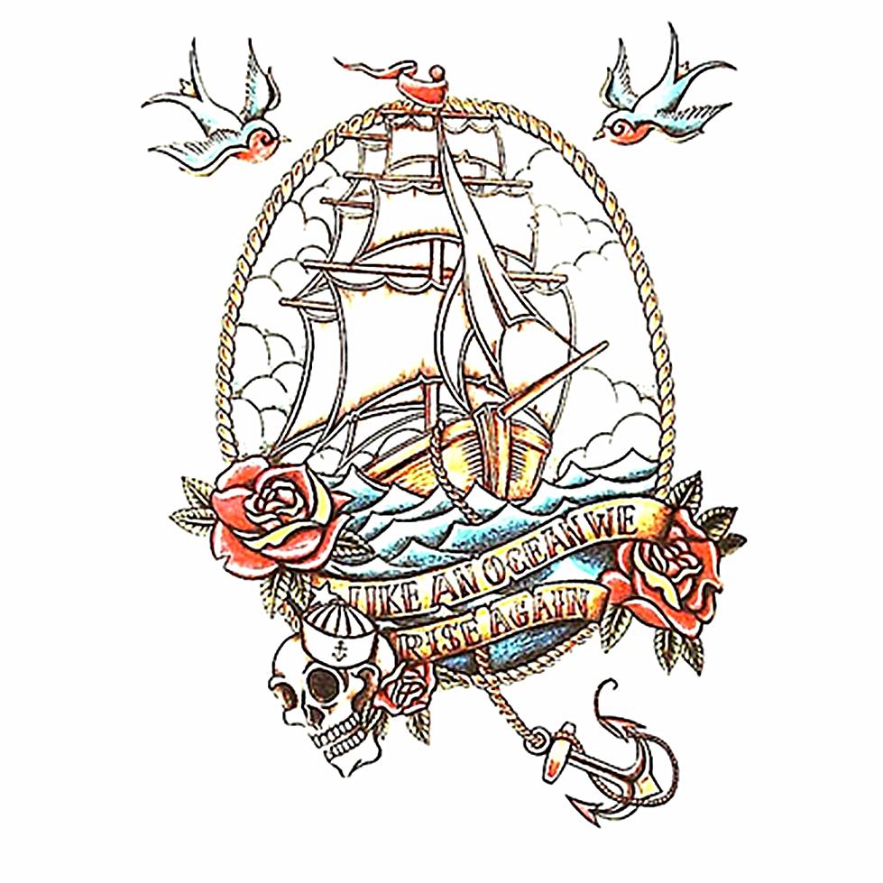 flash autocollant de tatouage pirate ship 20 12 cm tanche harajuku henn beaut 2015 t. Black Bedroom Furniture Sets. Home Design Ideas