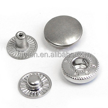 4 Part Brass Metal Button Spring Snap Button Snap Fasteners