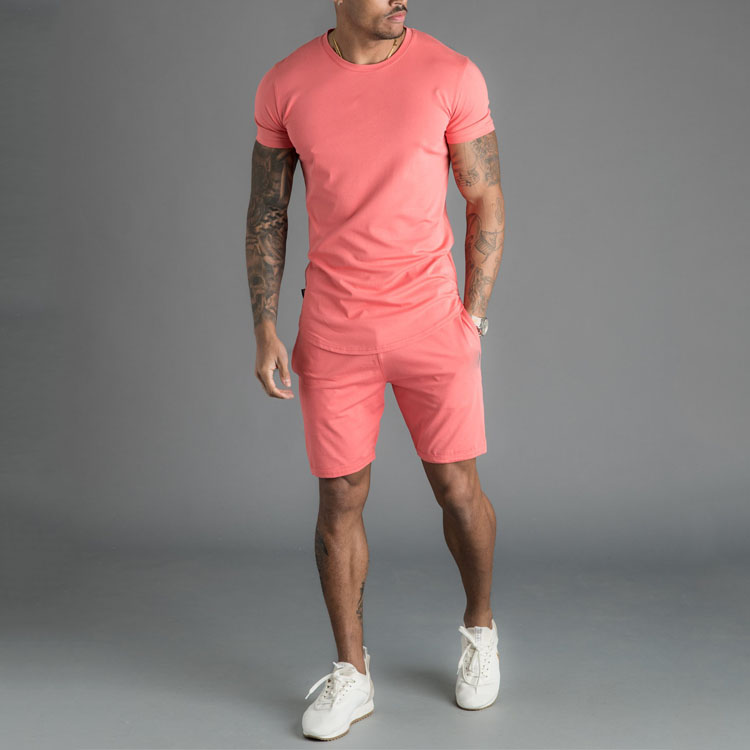 Custom Logo Summer Sportswear Shirt And Shorts Set For Men Cotton Running Custom Men Short Set