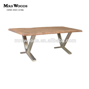 High quality antique solid oak wood top stainless steel base dining table