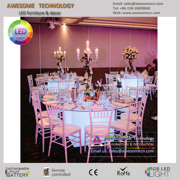 Wedding Banquet Acrylic Led Lighted Dining Table
