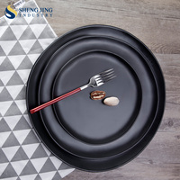 Catering Dinner Charger Stone Dishes 22cm 30cm 34cm Round Black Plate
