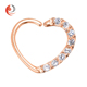 Clear Gem Rose Gold PVD Heart Left Daith Cartilage Tragus