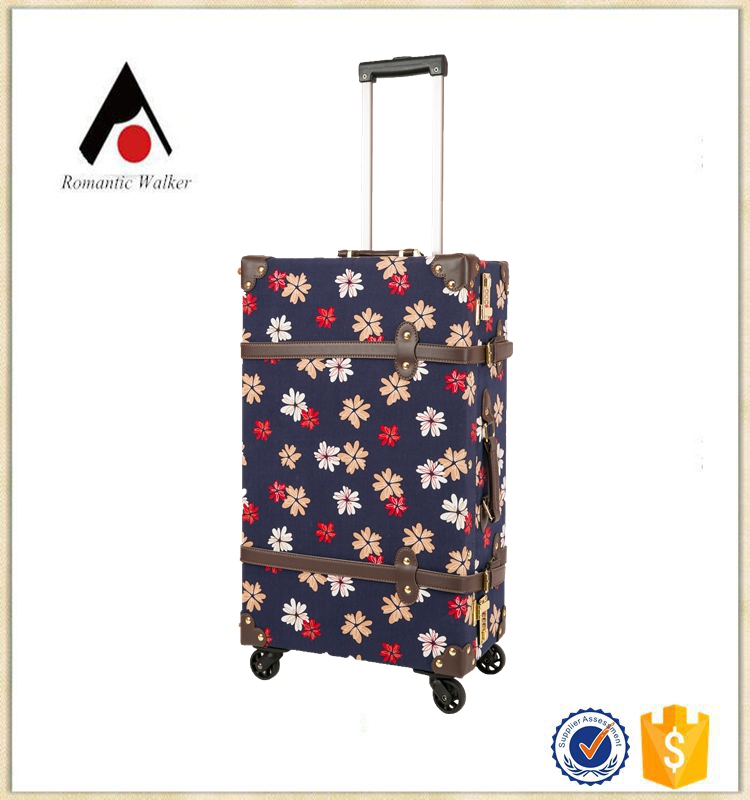 flower printing vintage stylish hard luggage case