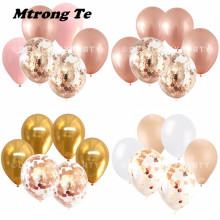 6 stks/partij 12 inch Sliver Rose Gold gold Latex Ballonnen rose gold confetti Bruiloft Verjaardag Party Decor <span class=keywords><strong>Helium</strong></span> Levert Lucht globos