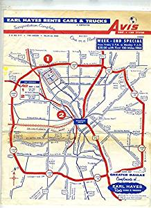 Earl Hayes Avis Rent A Car Maps of Dallas Texas 1950's Loop 12
