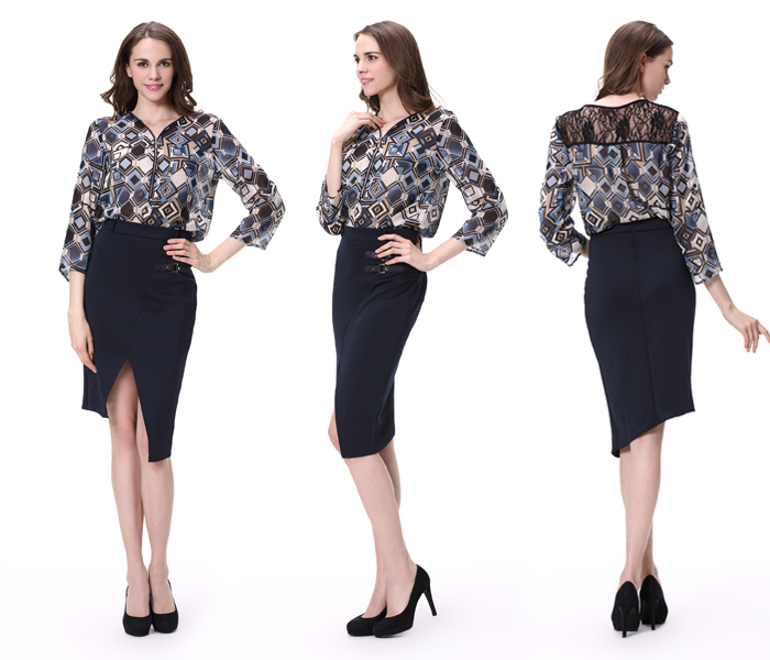 Ladies Formal Skirt And Blouse Models Short Sleeve Blouse Latest ...