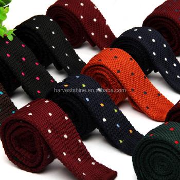 Mens Hand Knitted Dot Tiepolyester Knitted Necktiesknit Tie