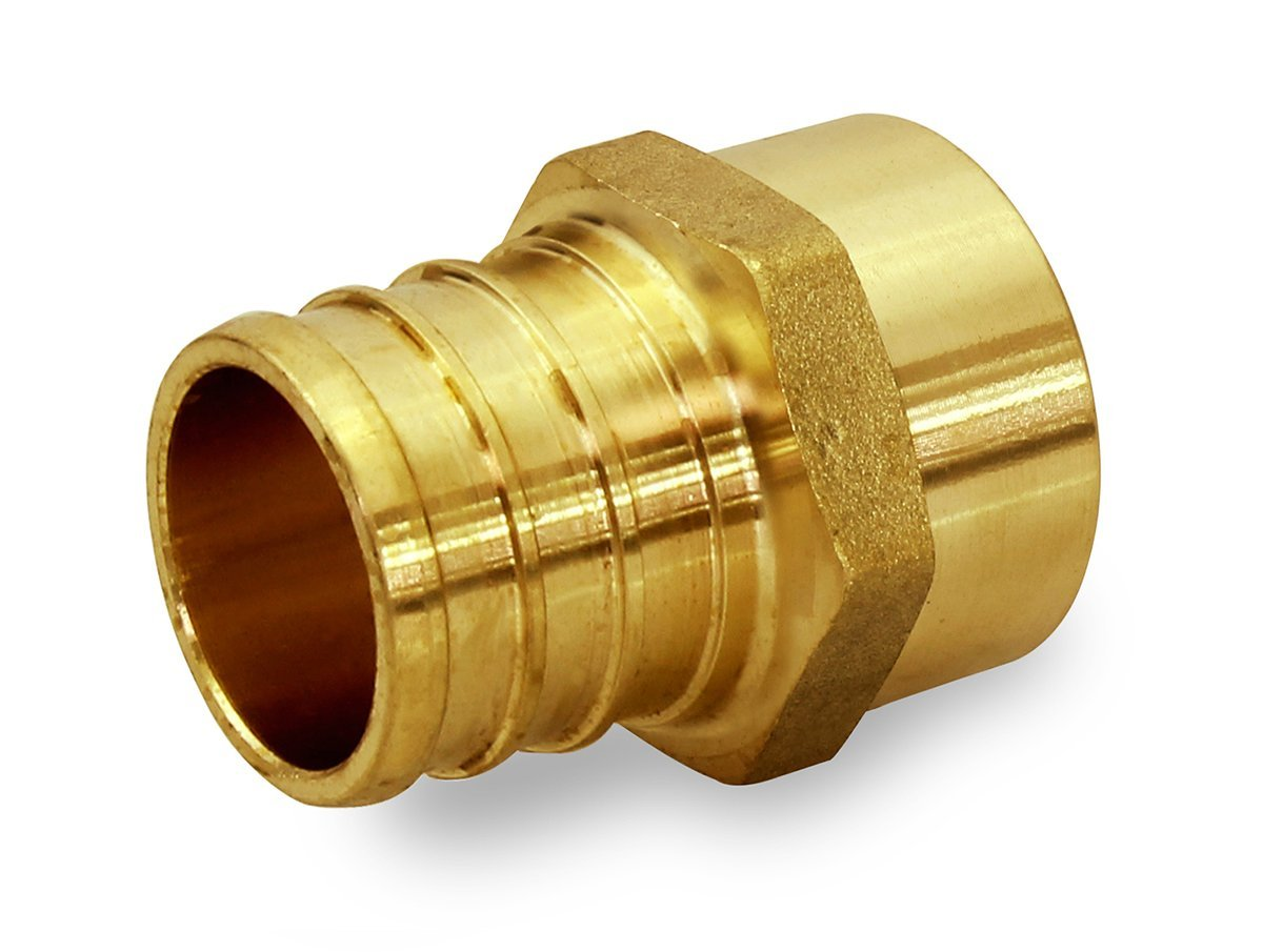 Everflow PSMA3838-NL 3/8 Inch x 3/8 Inch Lead Free Brass Adapter PEX X MALE SWEAT, Brass Construction, Compatible w/ PEX Piping, Low-Cost plumbing Connection, Durability & Reliability, Easy to Install