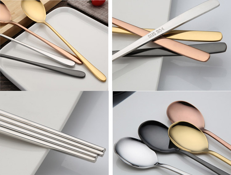 Stainless steel korean flatware spoon fork chopstick cutlery set