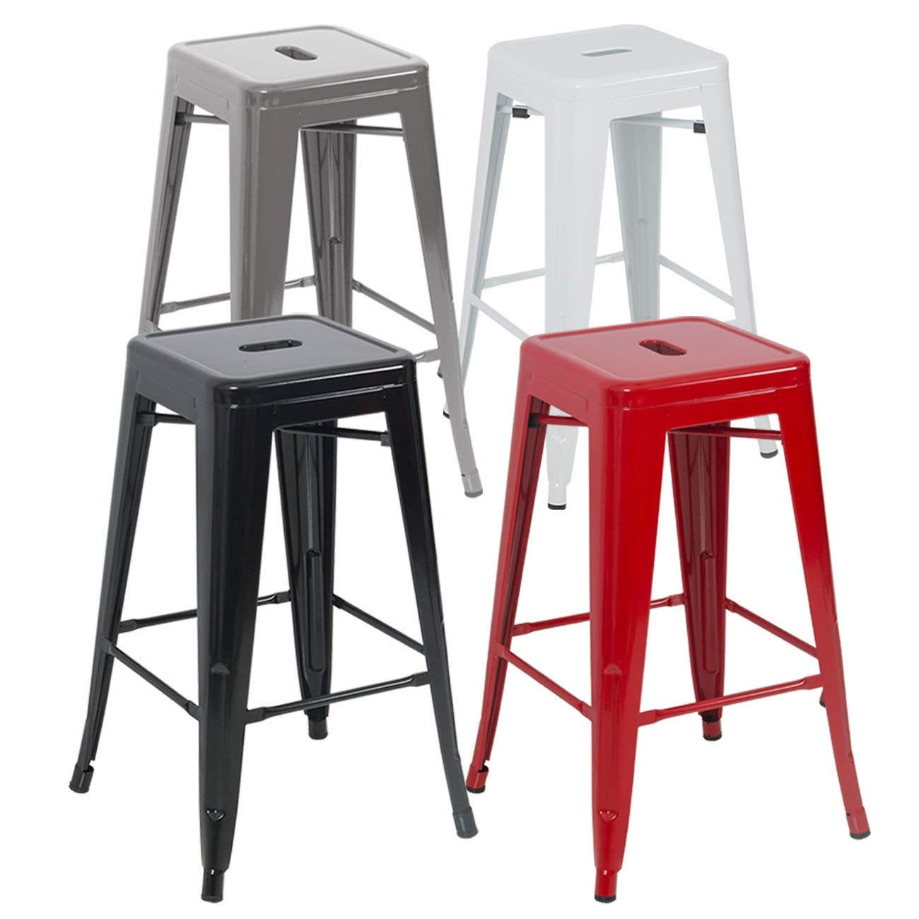 Globe House Products GHP 6-Pcs 330-Lbs Capacicty White Steel Scratch & Mar Resistant Stackable Bar Stools