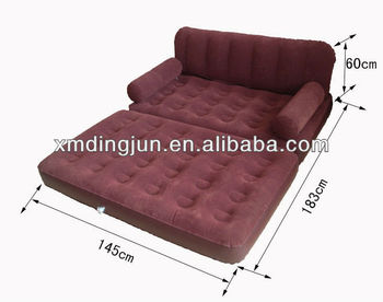 Blue Flocked Pvc Air Bed Sofa Chair 5 In 1 Beds