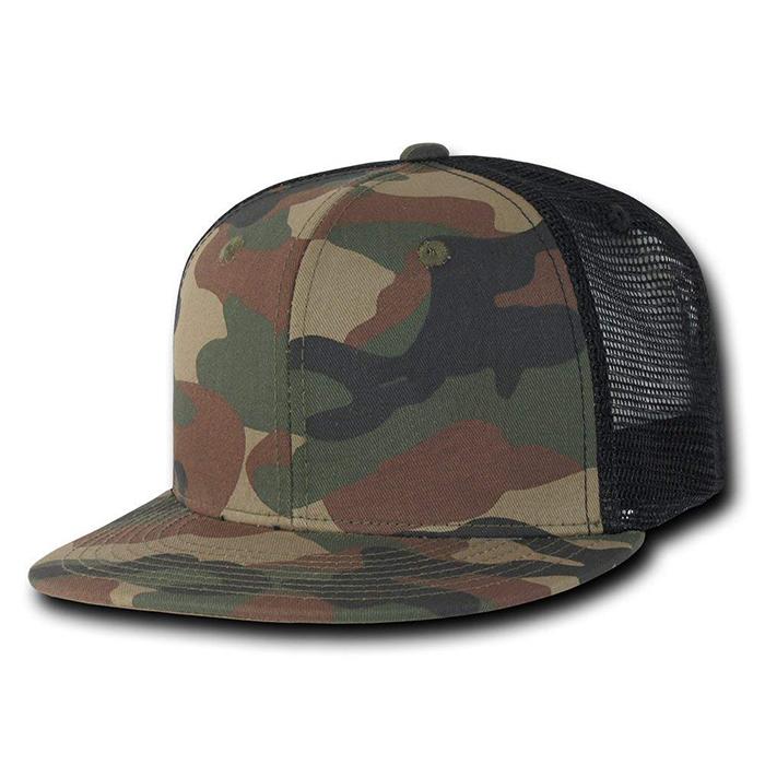 Wholesale 12 Blank Trucker Hats Camo //Khaki Cotton //Mesh Embroider//Screen 5Panel