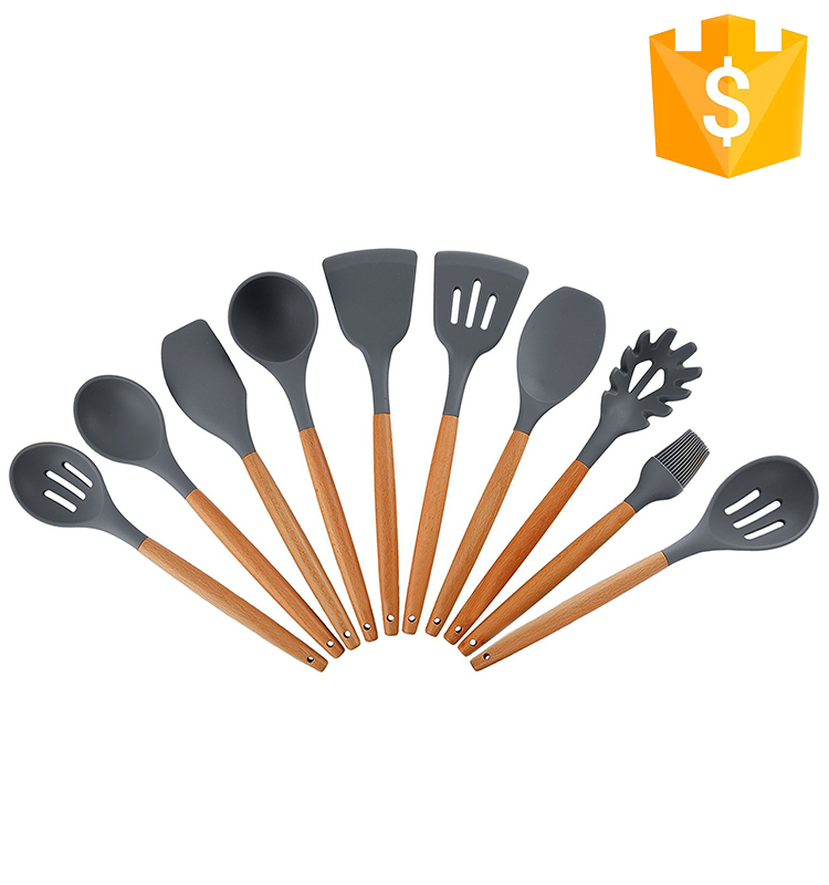 Professional Food grade Kitchen Tools Gadgets Heat Resistant Camping Cooking Silicone Kitchen Utensil Set