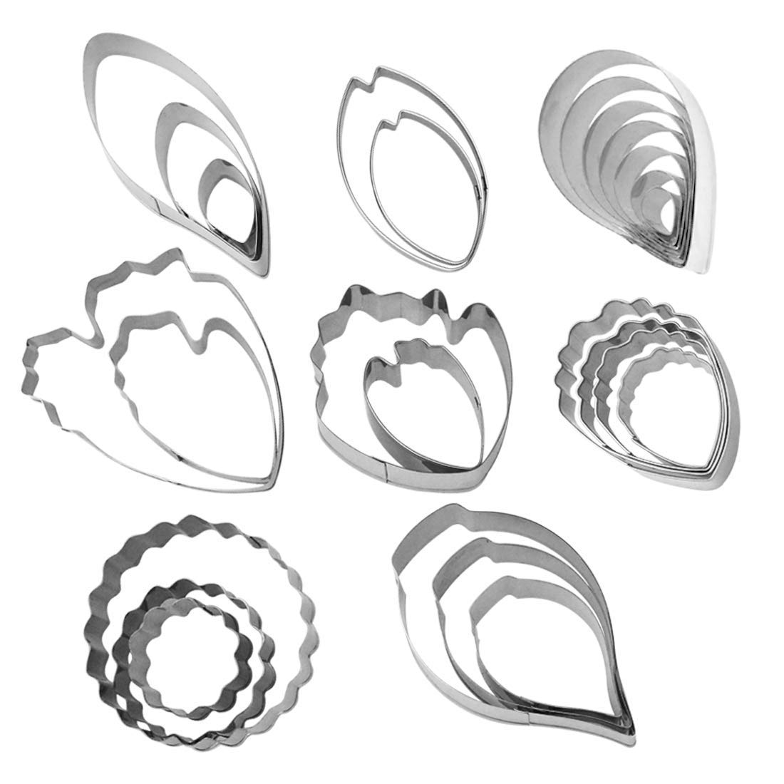 Cookie Cutters Set, Yookat 26pcs Stainless Steel Flower Biscuit Cutters, Water Drop Rose Petals,Peony Petals,Tulip Petals,Carnation,Calla Lily Petals,Leaf Cutter, DIY Tools Pastry Cutters