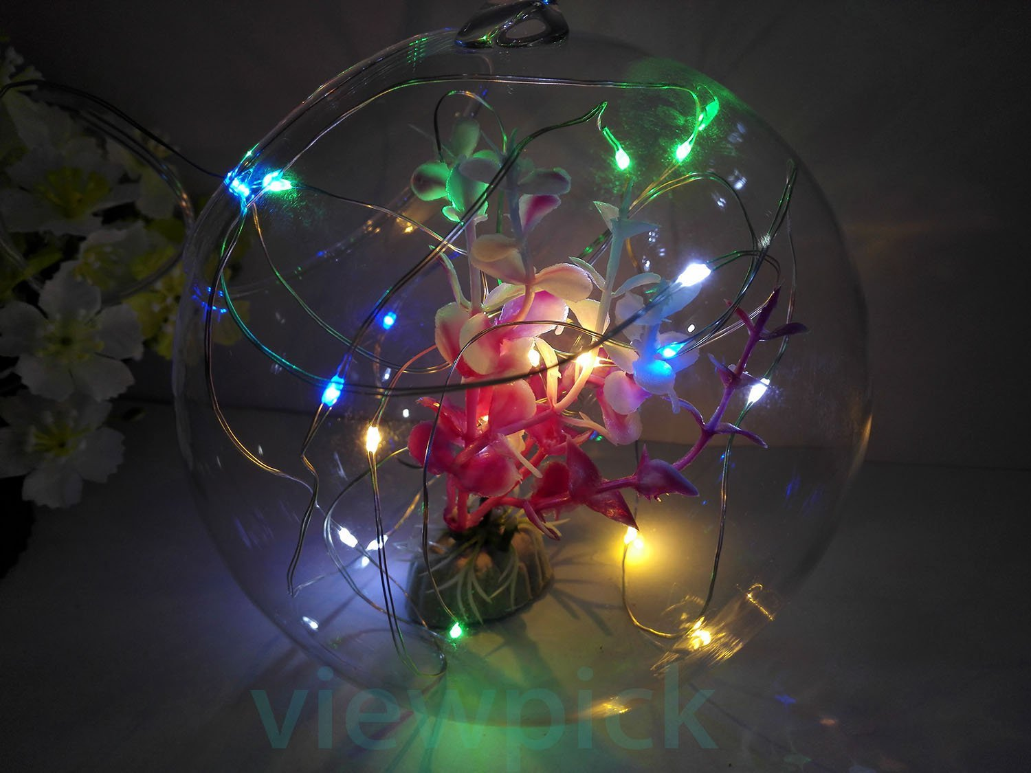 Viewpick 7ft 20 LEDs Multicolor Fairy Lights Silver Wire String Lights AA Battery Powered Led String Starry Light for Outdoor Decorative Halloween Christmas Wedding Parties Activities