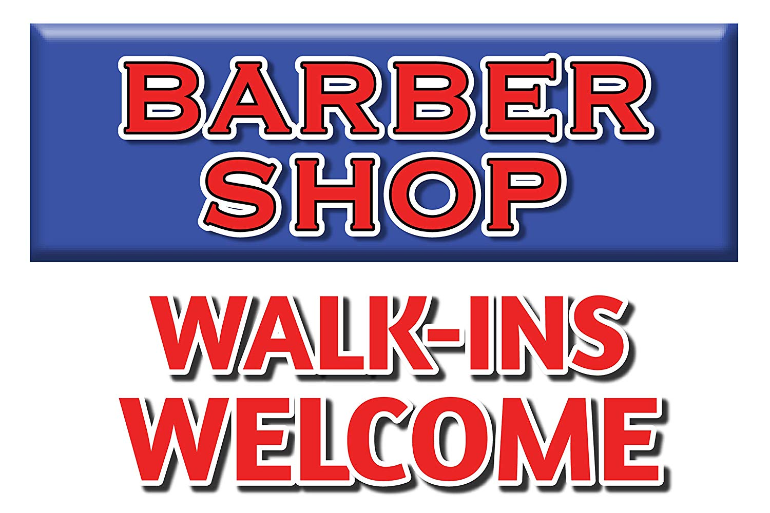 """BannerBuzz Barber Shop Walk-ins Welcome Yard Sign with Metal Stakes, Non-Reflective UV Print Corrugated Plastic Sheets for Indoor & Outdoor Garden Signs (12"""" (H) X 18"""" (W))"""