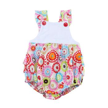 36b64b531613 Kaiyo New Styles Printed Fabric Ruffle Bubble Knit Infant Romper ...
