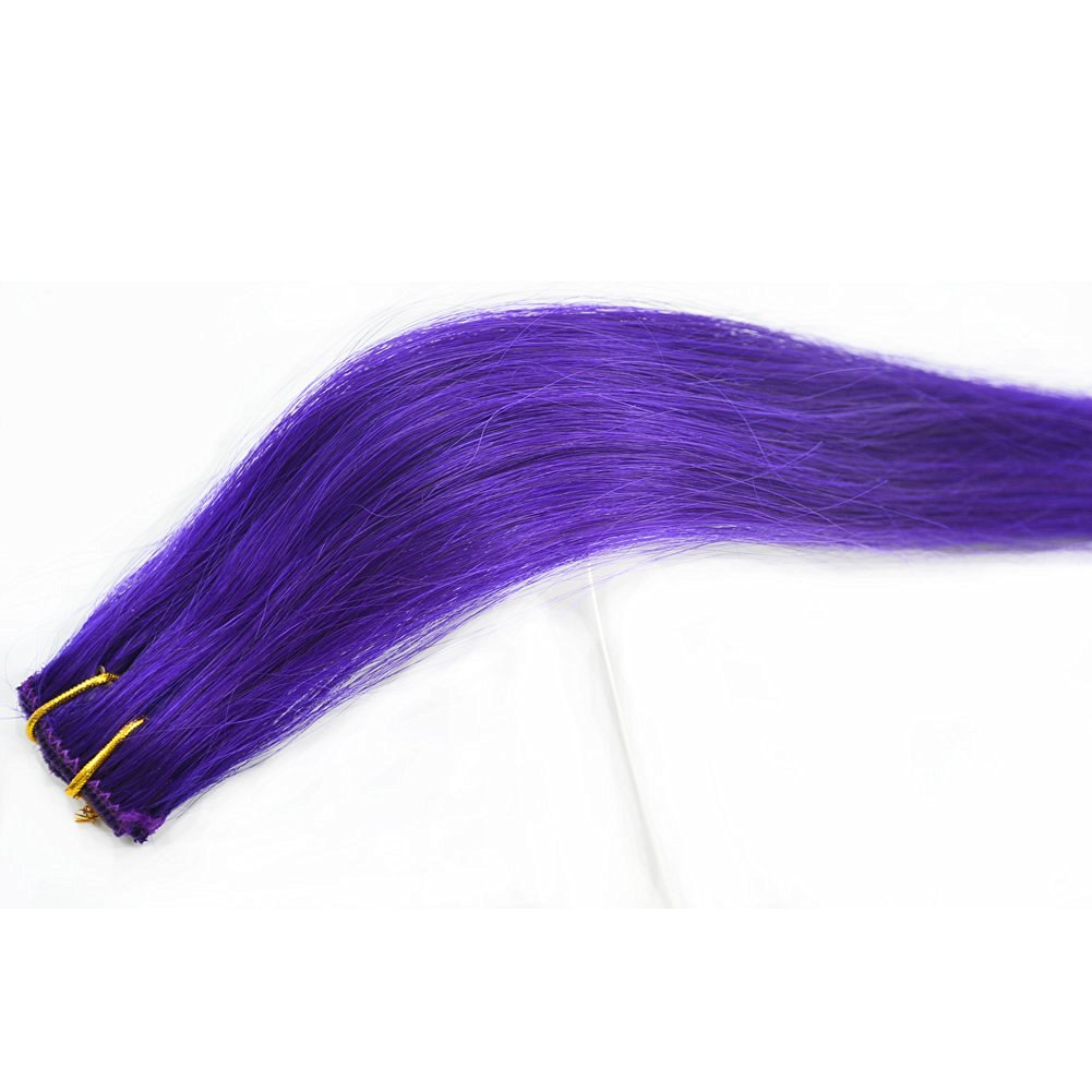 Buy Moresoo 14 Inch Straight 100 Remy Human Hair Purple Clip In