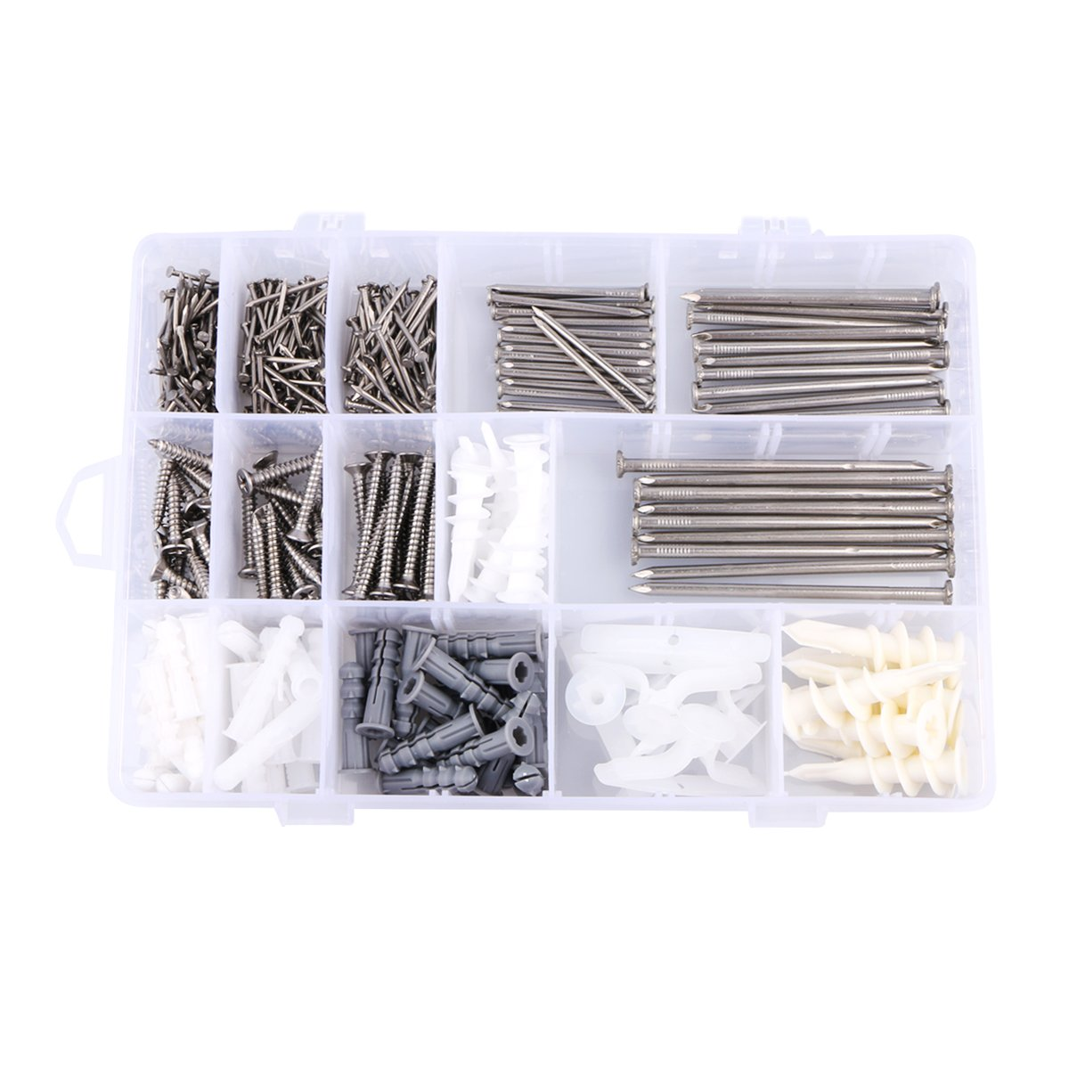 Nail and Plastic Anchor Assortment Kit with Wire Nail, Screws, Drywall and Hollow Wall Anchors