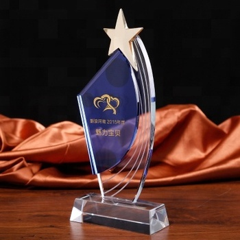 Luxury Acrylic Glass Trophy Custom Crystal Award With Base For Gift