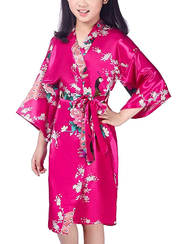 Get Quotations · Mobarta Kids  Floral Satin Kimono Robe Peacock Bathrobe  Flower Girl Getting Ready Robe Wedding Spa 8ad9b5e83