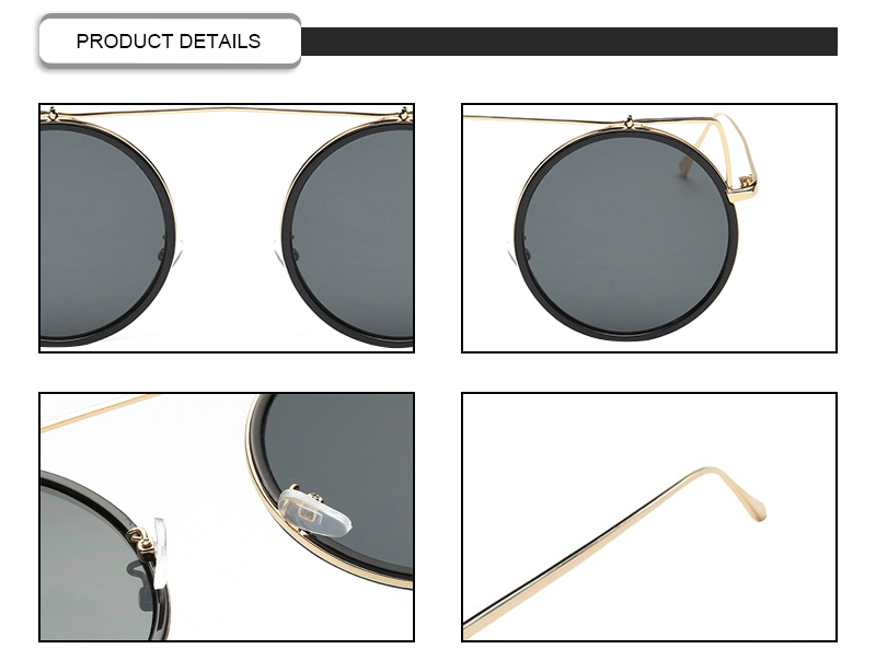 Vintage Round Metal Cat 3 UV400 Frame Mirror Colorful Women Sunglasses