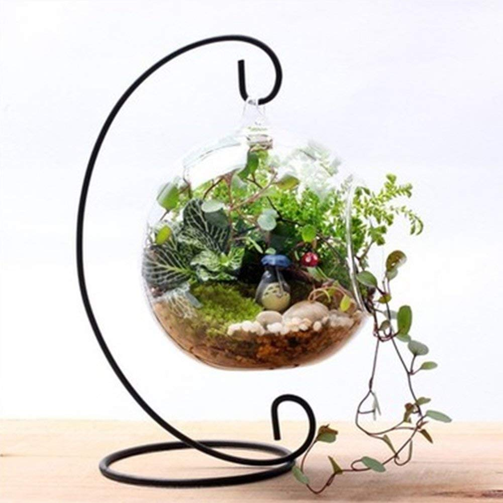 Candle Holder, Plant Glass Vase Holder, Iron Hanging Stand Holders Candlestick Glass Ball Lantern Hanging Stand, Festival Party Home Garden Decoration(Black)