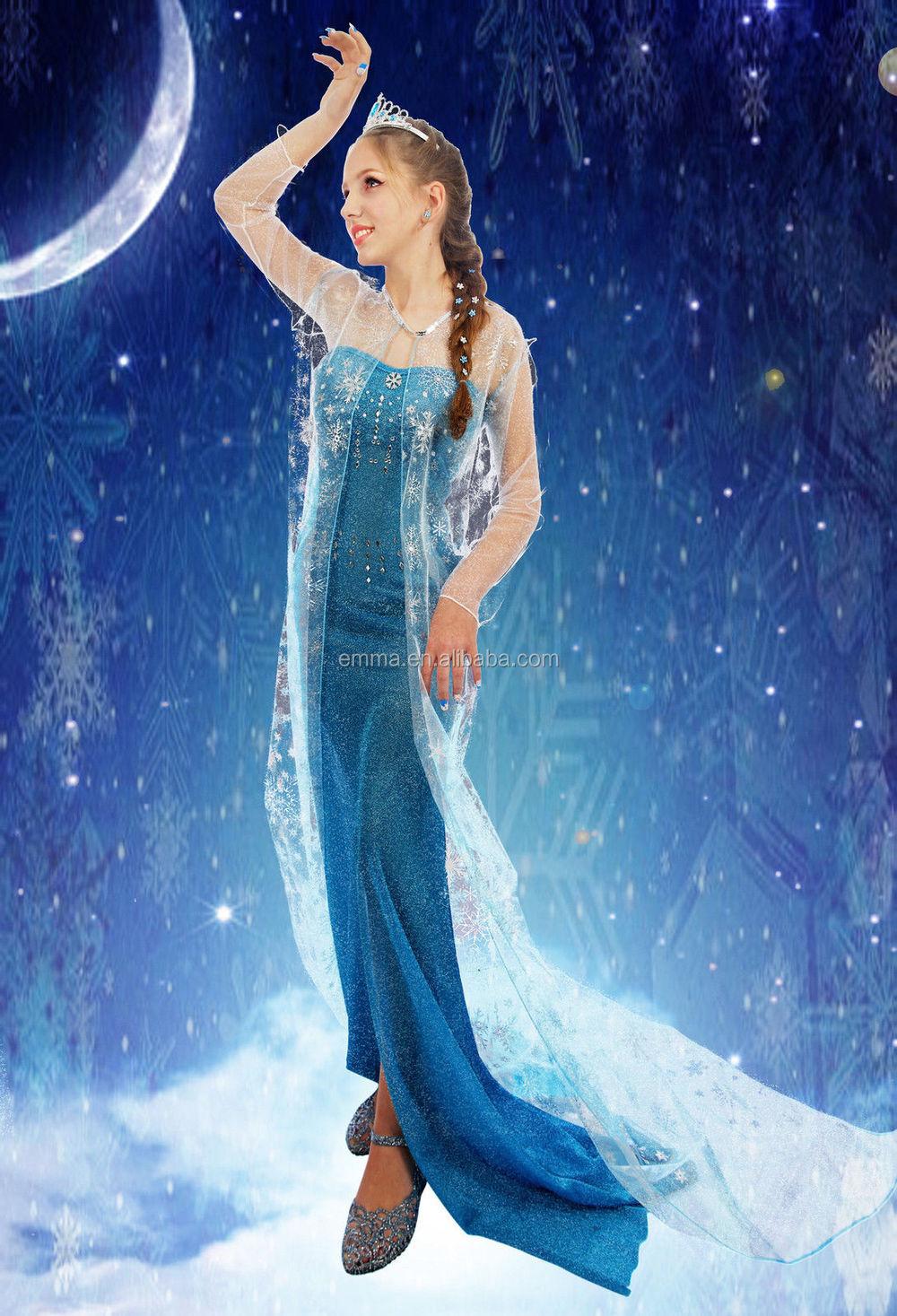 Adult Frozen Style Elsa Coronation Party Fancy Dress Princess Anna ...
