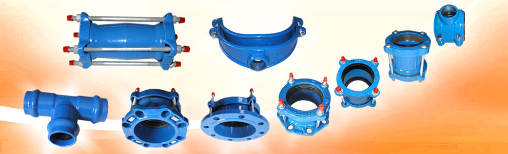 Ductile iron flange adapter for pvc pipe or