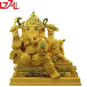 Ganesha Sitting on Elephant - Large Ganesh statue - Resin Ganesha Hindu God Figure