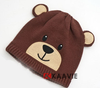 Newborn Infant Baby Animal Brown Bear Knitted Beanie Hat With Ears ... ed98c07561c