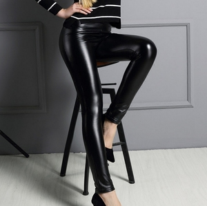 Sexy Womens Stretch High Waist Pencil Pants Skinny Pu Leather Leggings Trousers
