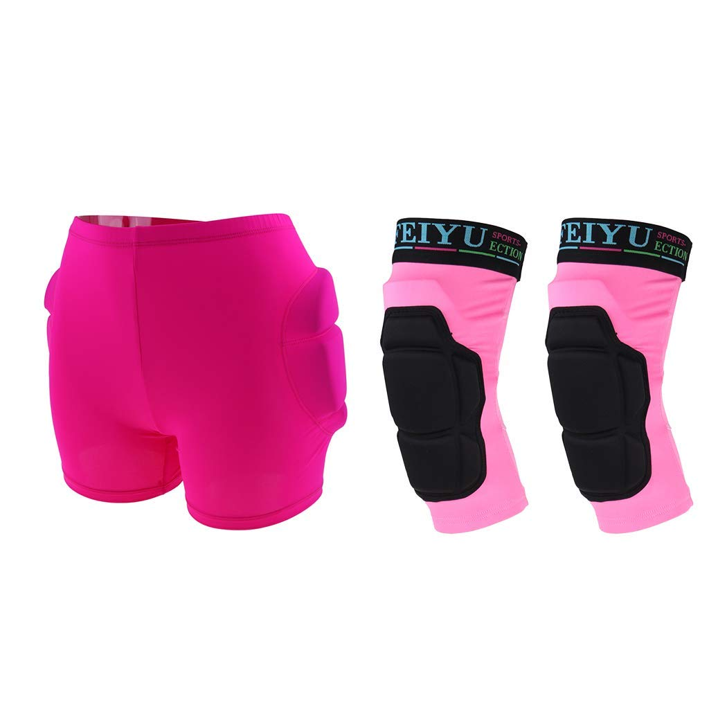 Baosity Women Pink Hip Protective Shorts Butt EVA Pad Short Pants Protective Gear & Knee Guard for Ski Ski Skate Snowboard