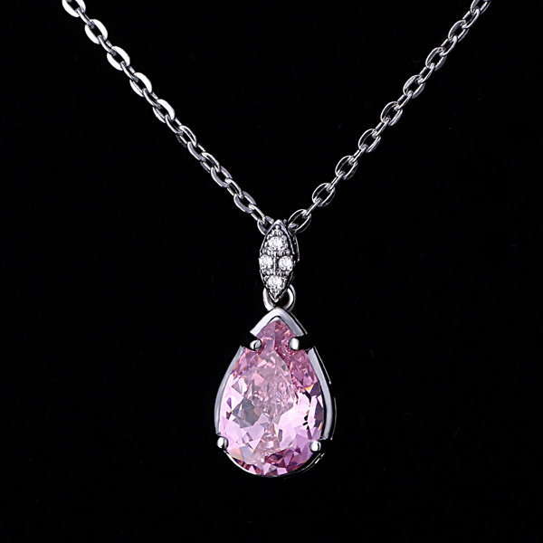 Free Sample Fashion 925 Silver Big Teardrop Pink Cz Stone Custom <strong>Pendant</strong> Design