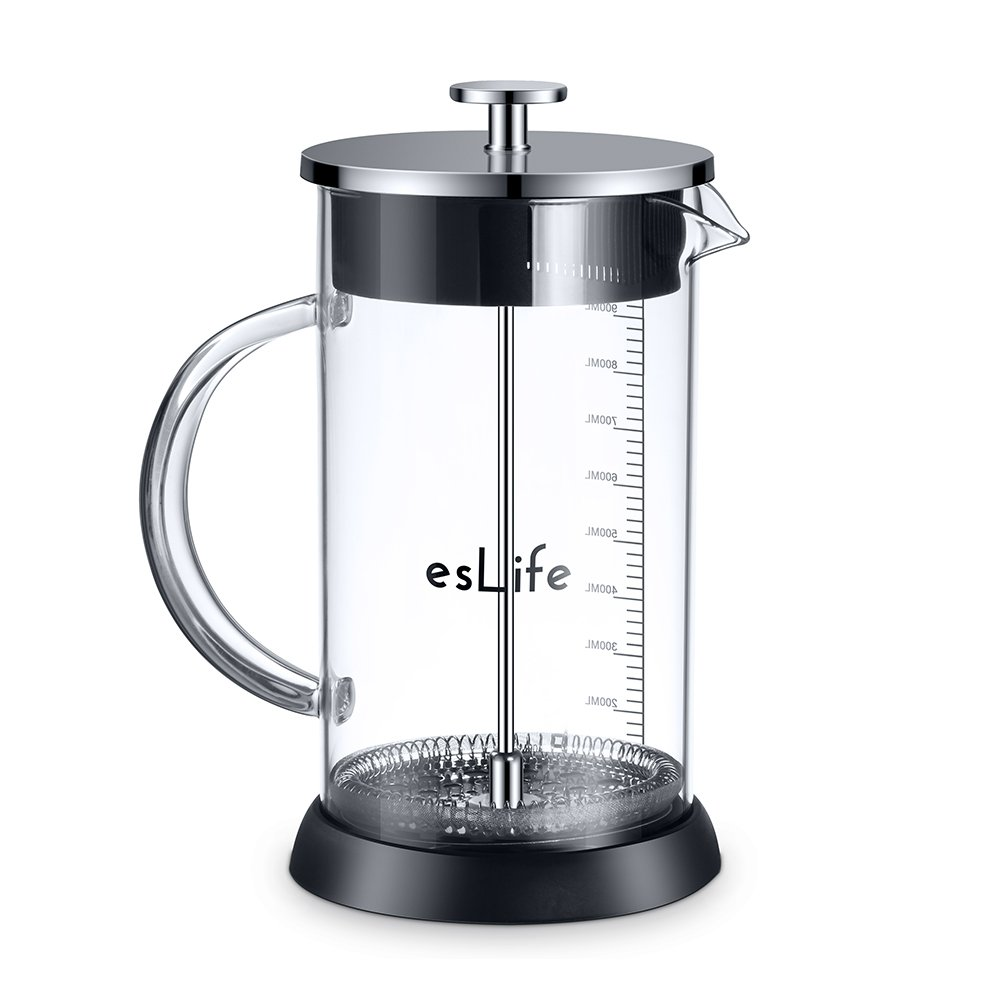 French Press Coffee Maker, esLife 34 OZ Stainless Steel Lip & Durable Heat Resistant Borosilicate Glass