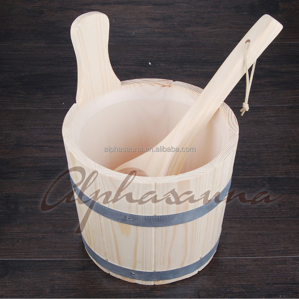 3L Sauna pail and ladle with matel belt and Plastic Insert Factory Sauna accessories, Wholesaler, Sauna Dealer