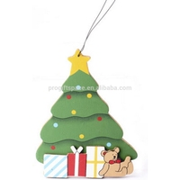 2018 new hotsale China hand made cheap wholesale hanging ornament gift box decoration die cut colorful wood craft Christmas tree
