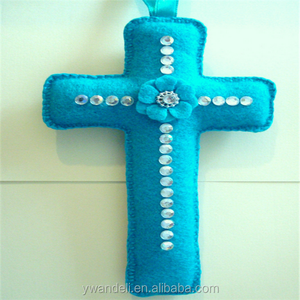 Handmade Diamante Embellished Felt Religious Cross Wall Hanging